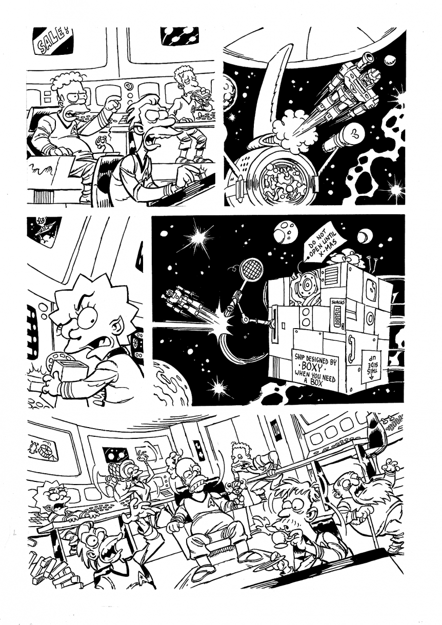 "Inks for MAD parody, ""D'Oh Magazine"" c. Simpsons Comics"